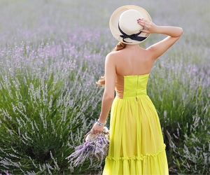 girl, lavender, and nature image