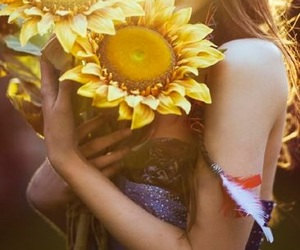 girl, flowers, and model image