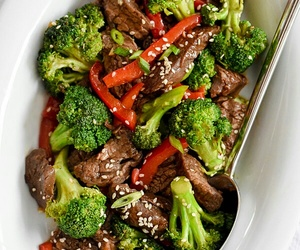 beef, healthy food, and broccoli image
