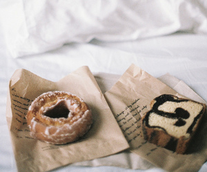 bed, food, and donuts image