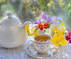 flowers, shabby chic, and tea image