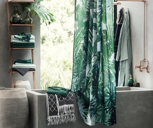 bathroom, green, and tropical image