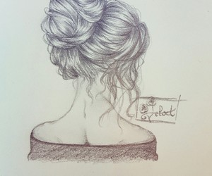 black and white, hairstyle, and drawing image