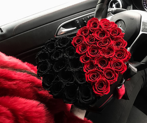 red, roses, and black image
