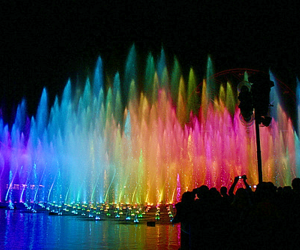 colorful, fountain, and light image