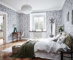 bedroom, home decor, and wallpapered bedroom image
