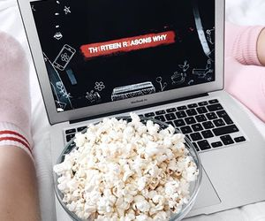 13 reasons why, netflix, and popcorn image
