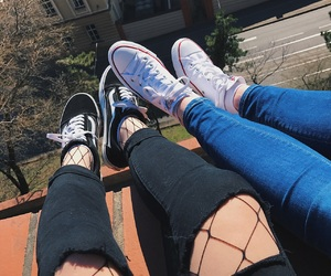 bff, converse, and fishnets image