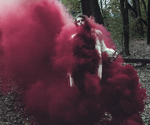 girl, red, and smoke image