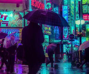 city, neon, and lights image