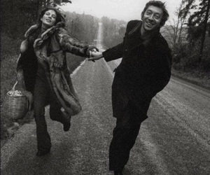 serge gainsbourg, black and white, and couple image