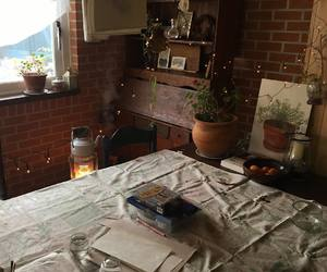 books, plants, and vintage house image