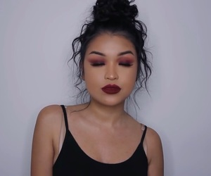 black, bun, and burgundy image
