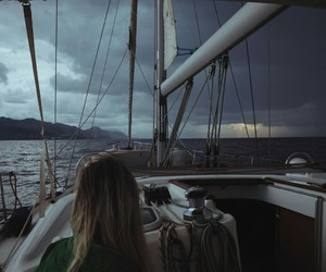 girl, ocean, and rain image