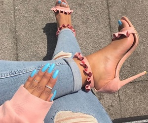 blue nails, girly, and heels image
