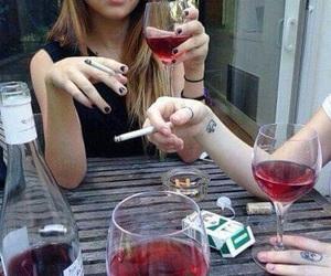 cigarette, wine, and friends image