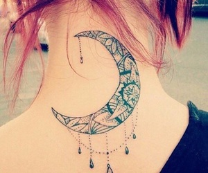 tattoo, moon, and tatoo image