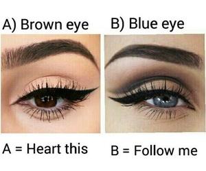 blue eyes, brown eyes, and eyeshadow image