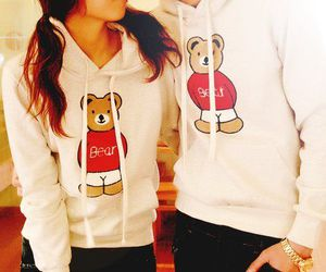 love, bear, and couple image