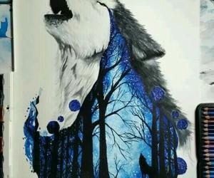 art, night, and wolf image