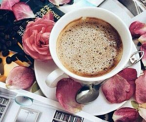 coffee, roses, and magazine image