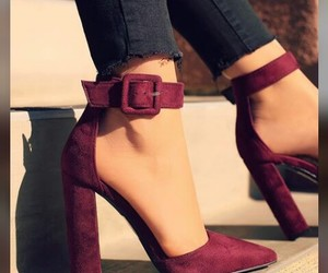 heels, shoes, and maroon image