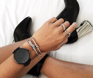 black and white, jewelry, and silver image