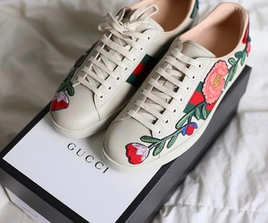 gucci, shoes, and flowers image