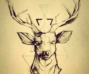deer, tattoo, and drawing image