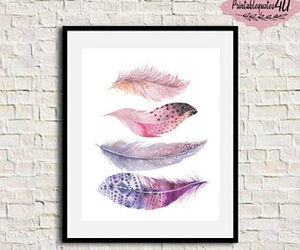 etsy, printable art, and feathers image