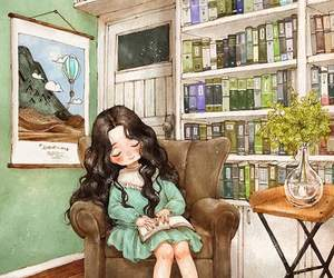 girl, book, and art image