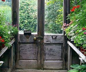 door, flowers, and garden image