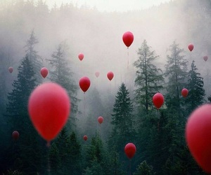 balloon, fog, and forest image