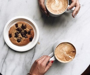 chocolate chips, coffee, and cookie image