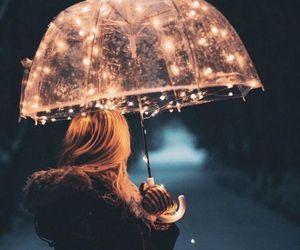 light, girl, and umbrella image