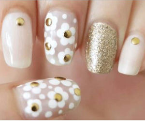 nails, flower, and gold image