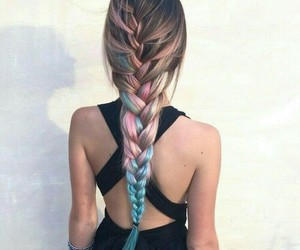 blue, pink, and plait image