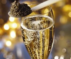 caviar, champagne, and glass image