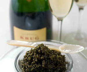 caviar, champagne, and cold image