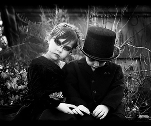 couple, gothic, and kids image