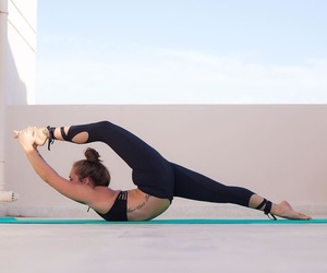 flexibility, athletic wear, and scorpion image