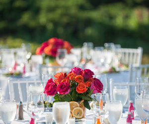 centerpieces, fuchsia, and orange image