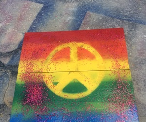 peace, love, and art on wood image