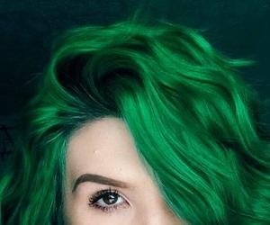 green, hair, and short image