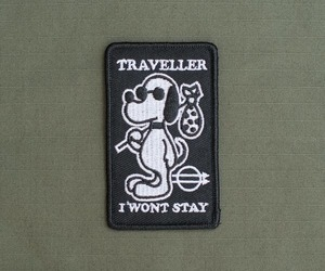 patches, snoopy, and traveller i won't stay image