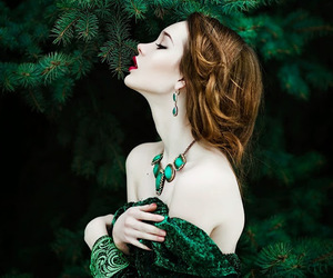 green, woman, and beauty image