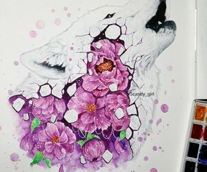 drawing, flowers, and watercolor image
