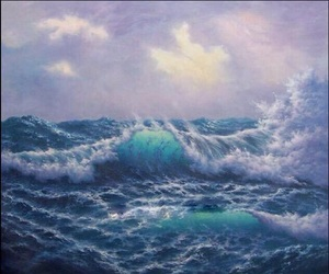 waves, art, and sea image