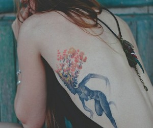 back tattoo, girl, and tattoo image