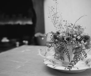 black and white, cup, and flowers image